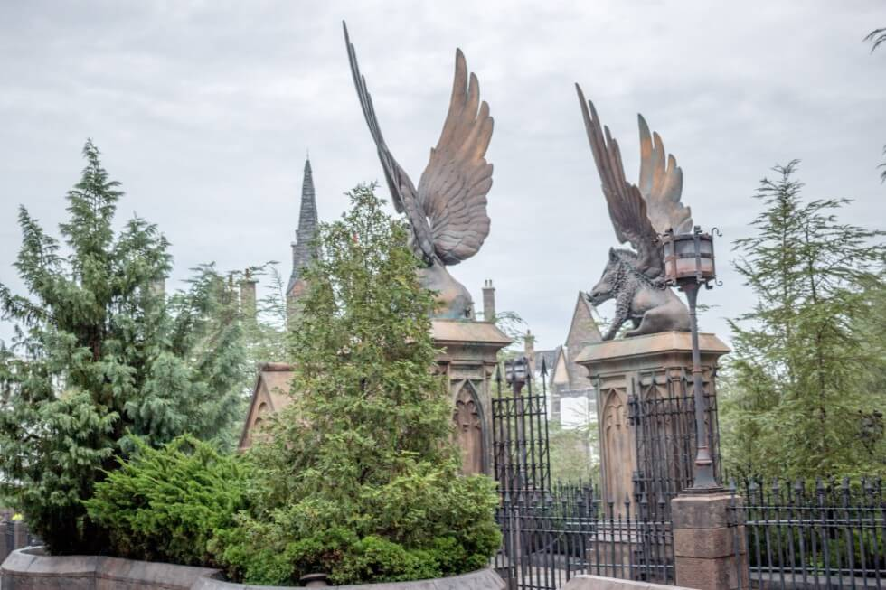 Winged Boars at Hogwarts Entrance Gates Visiting Harry Potter World Plan
